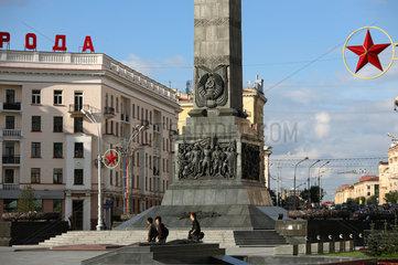 Minsk  Weissrussland  Platz des Sieges mit einem 38 m hohen Obelisk