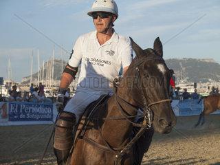 ALGECIRAS  SPAIN -JULY 19  2014 Internationales Beach polo Turnier. Spieler Mariano Iturrioz  Argentinien