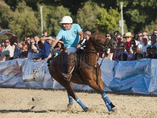 ALGECIRAS  SPAIN -JULY 19  2014 Internationales Beach Polo Turnier. Spieler Luciano Irazabal Uruguay