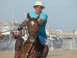 ALGECIRAS  SPAIN -JULY 19  2014 Internationales Beach Polo Turnier  Spielrer Luciano Irazabal Uruguay