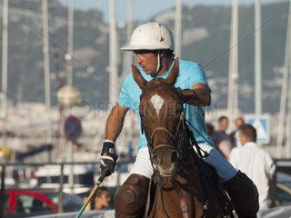 ALGECIRAS  SPAIN -JULY 19  2014 internationales Beach Polo Turnier. Spieler Player Luciano Irazabal Uruguay