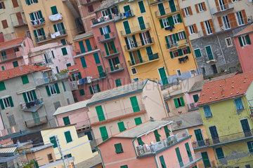Verschachtelte Bauweise bunter Wohnhaeuser in Manarola in Ligurien