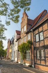 Historische Gebaeude in der Strasse An der Obertrave in Luebeck