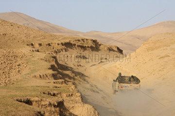 Feyzabad  Afghanistan  afghanische Soldaten auf Patrouillienfahrt