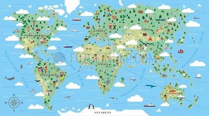 Weltkarte 2 mit Bezeichnungen