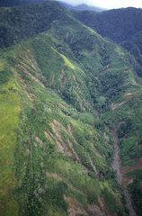 Ariel views of logging and deforestation  Leyte  the Philippines