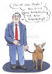 Arbeitgeber mit Hund