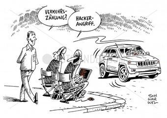 Sicherheitsluecken : Hacker uebernehmen Kontrolle ueber fahrendes Auto