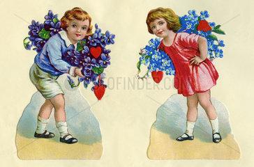 zwei Kinder gratulieren mit Blumen und Herzen  Poesiealbum  1929
