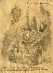 Friedrich der Grosse  Kunstfaelschung  gefaelschte Zeichnung von Adolph Menzel