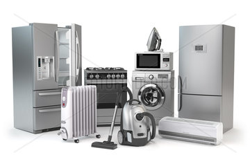 Home appliances. Set of household kitchen technics isolated on white background. Fridge  gas cooker  microwave oven  washing machine vacuum cleaner air conditioneer and iron.