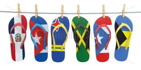 Hanging flip flops in colors of flags of different carribean countries Aruba  Bahamas  Cuba  Dominicana  Jamaica  Puerto-Rico. Travel and tourism concept.