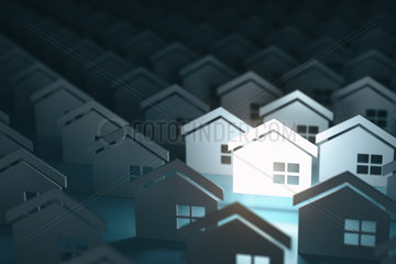 Real estate property industry concept background. Unique lighting house sign in group of houses.