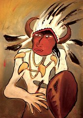 Indianer Haeuptling mit Schild