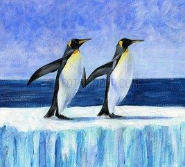 Pinguine Aufforderung zum Tanz auf einer Eisscholle
