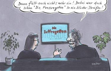 Paar beim Fernsehen Suffragetten