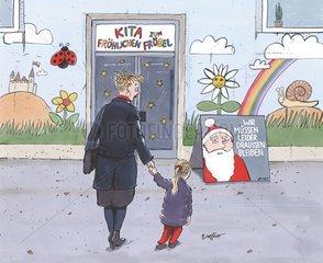 Mutter Kind KITA Weihnachtsmann