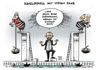 Oeffentliche Debatte um Kanzlerduell mit Moderator Stefan Raab