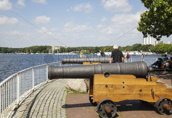 Greenwich Promenade with cannons  a gift to Tegel from the London District Greenwich  Tegel  Berlin  Germany