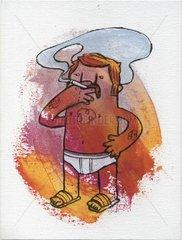 Mann in Unterhose raucht eine Zigarette