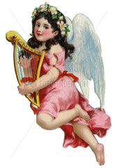 Engelchen spielt Harfe  Poesiebild  1929