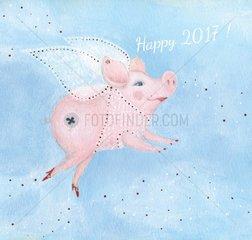 Neujahrsgruss new year Schwein pig Glueck fortune luck Fee fairy 2