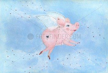 Neujahrsgruss new year Schwein pig Glueck fortune luck Fee fairy 1