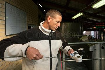 Guebwiller  Frankreich  Guebwiller  Frankreich  Arbeiter an der modernen Weinpresse in der Weinkelterei Domaines Schlumberger