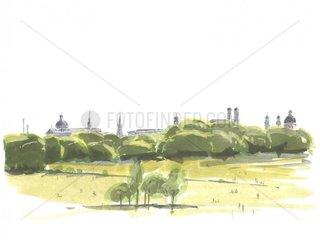 Muenchen Stadtsilhouette Englischer Garten