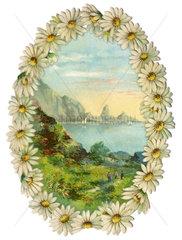 Landschaft am Meer  Blumenkranz  Symbol Fernweh  1929