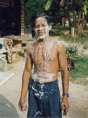Thailand  Koh Samui  Songkran  Mann mit weisser Schminke
