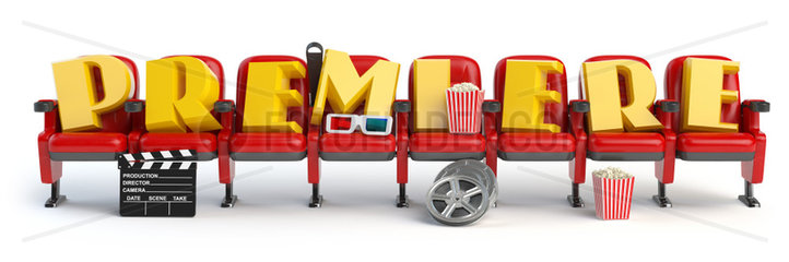 Premiere. Cinema  movie video concept. Row of seats with popcorm  glasses and clapper board isolated on white.