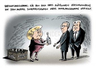 Merkel Wahlprogramm mit Sicherheitskopien