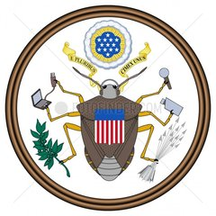 Grosses Dienstsiegel Great Seal USA Wappen Wanze Karikatur Abhoerskandal