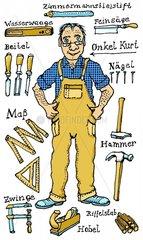 Tischler mit Werkzeug