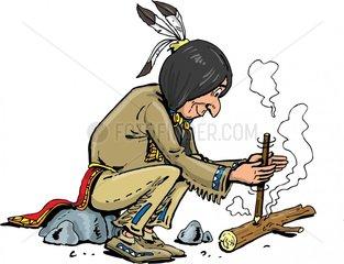 Serie Indianer Feuermachen