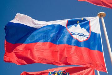 Frankreich  wehende slowenische Nationalflagge