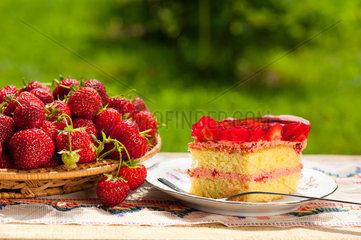 Yellow jaffa cake with strawberries