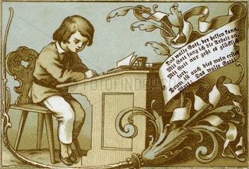 Schueler beim Lernen  Sinnspruch  Illustration  1898