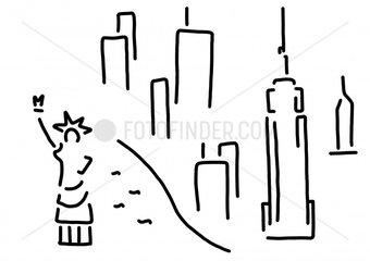 new york freiheitsstatue empire wolkenkratzer