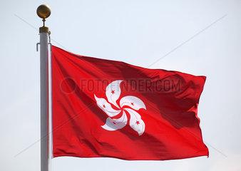 Hongkong  China  Flagge von Hongkong weht im Wind