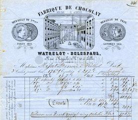 historische Rechnung  franzoesische Schokoladenfabrik  1858