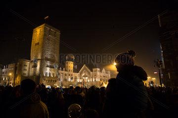 Poznan  Polen  Feier am Unabhaengigkeitstag (Dzien Niepodligosci)