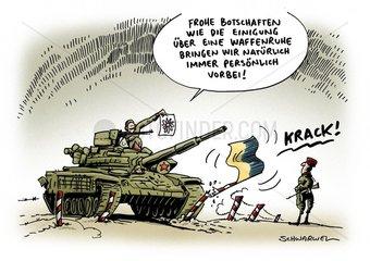 Ukraine-Gipfel : Waffenruhe vereinbart - 50 russische Panzer
