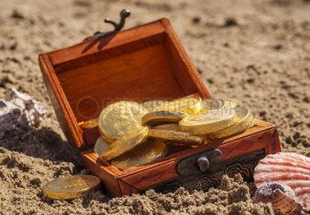 Schatztruhe mit Goldmuenzen