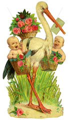 Klapperstorch bringt Babies  Glanzbild  1890