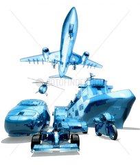 Verkehrsmittel zu Land und Luft