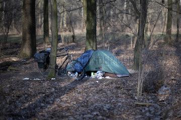 Obdachlose  Tiergarten Berlin