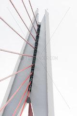 DongShuiMen cable bridge detail against sky