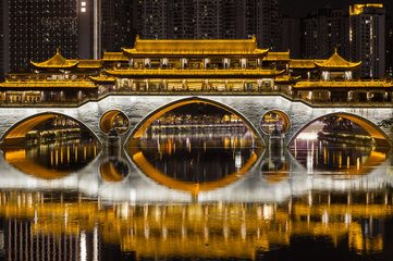 Chengdu Anshun bridge at night